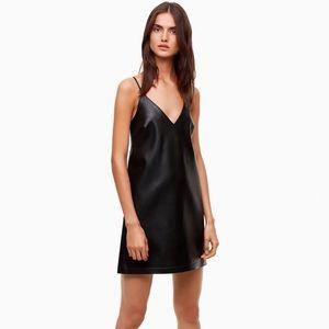 Aritzia Talula Black Vegan Leather Slip Dress M